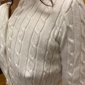 Chaps cable knit button sweater